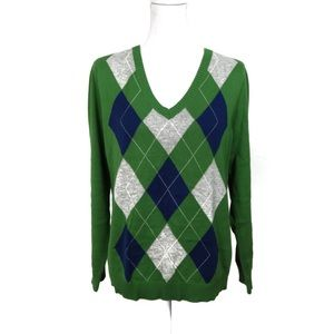 T652 Izod Argyle Sweater Green Navy Gray Size L